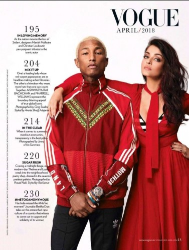 Aishwarya Rai Bachchan and Pharrell Williams for Vogue India - April 2018