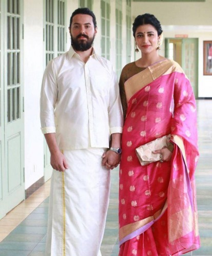 Shruti Haasan with  Boyfriend Michael Corsale in Indian Style