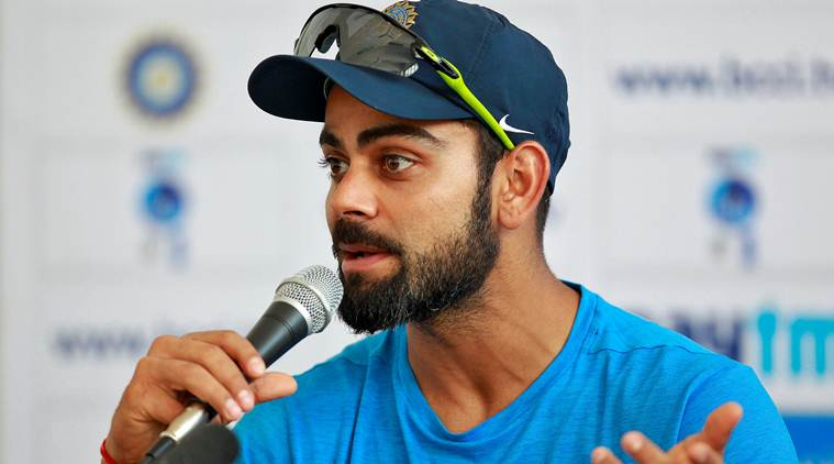 India's captain Virat Kohli attends a news conference ahead of their first test cricket match against England in Rajkot